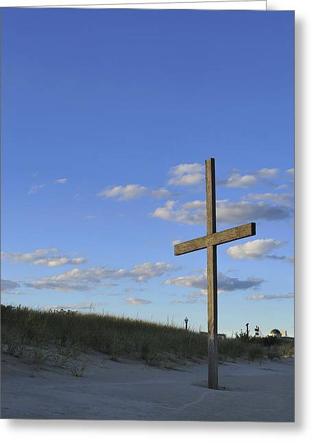 Forgiveness Greeting Cards - Beach Cross Greeting Card by Terry DeLuco