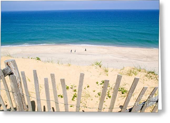 beach fence and ocean Cape Cod Greeting Card by Matt Suess