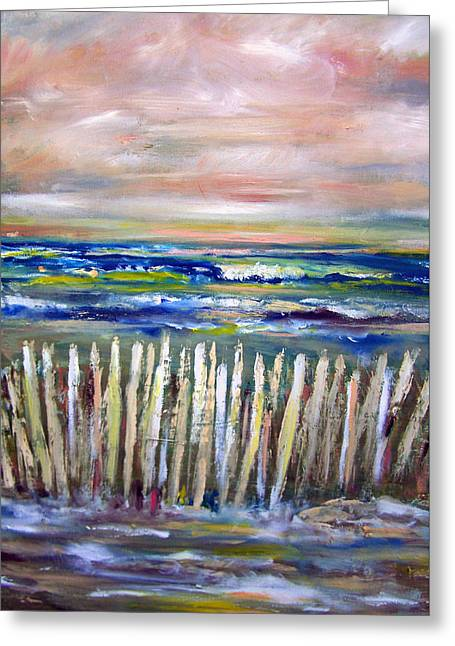 Beach Fence At Twilight Greeting Card by Patricia Taylor