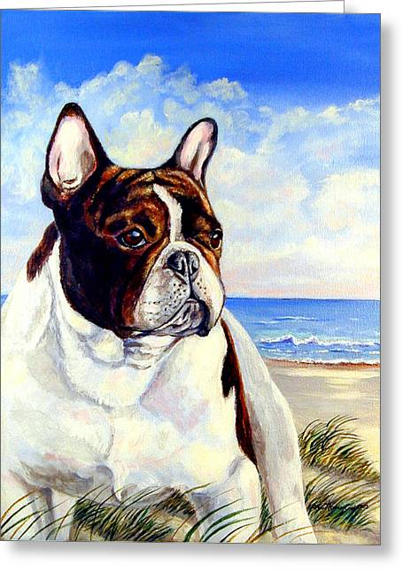 Seacoast Greeting Cards - Beach Frenchie - French Bulldog Greeting Card by Lyn Cook