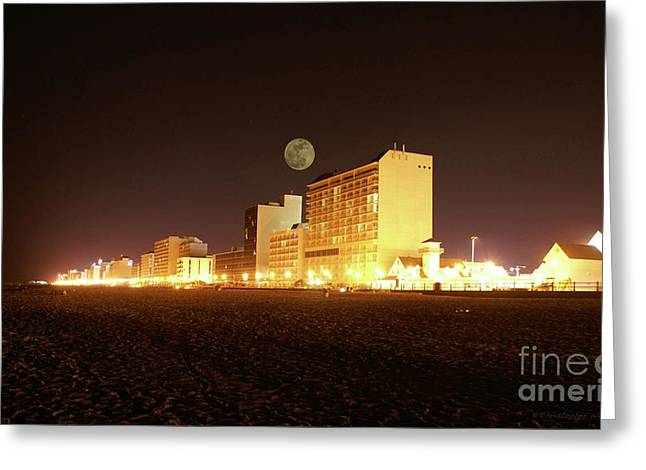 Beach full moon   Greeting Card by Christopher  Ward
