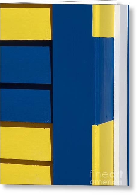 Brighton Beach Greeting Cards - Beach House - Blue White Yellow IV Greeting Card by Hideaki Sakurai