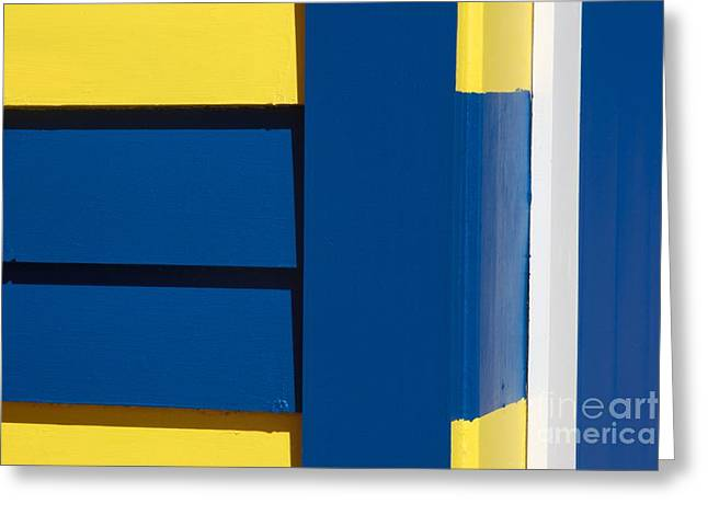 Brighton Beach Greeting Cards - Beach House - Blue White Yellow V Greeting Card by Hideaki Sakurai