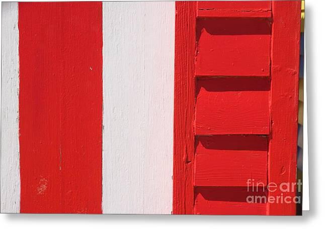 Brighton Beach Greeting Cards - Beach House - Red and White II Greeting Card by Hideaki Sakurai