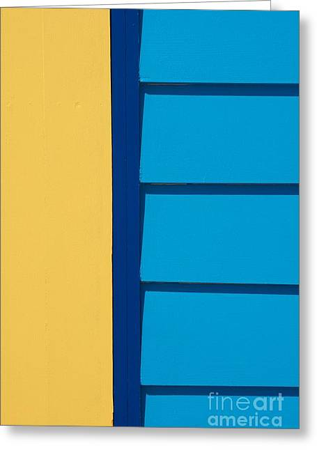 Yellow Line Greeting Cards - Beach House - Yellow and Blue I Greeting Card by Hideaki Sakurai