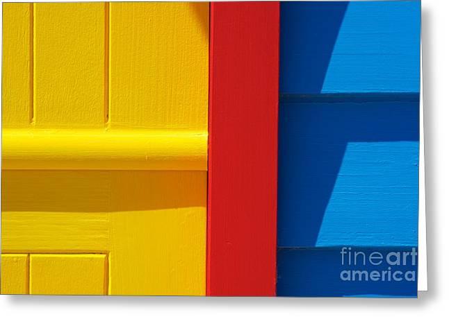 Beach House - Yellow Blue With Red Line IIi Greeting Card by Hideaki Sakurai