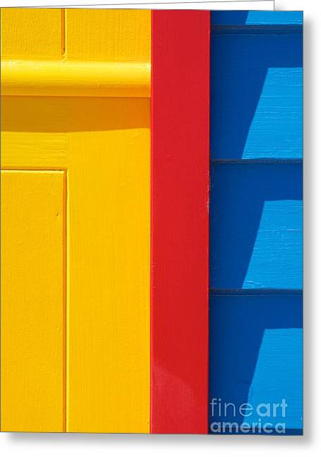 Brighton Beach Greeting Cards - Beach House - Yellow Blue with Red line V Greeting Card by Hideaki Sakurai