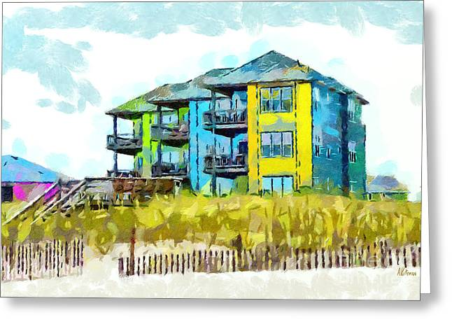 Atlantic Beaches Drawings Greeting Cards - Beach House at the Outer Banks Greeting Card by Anne Kitzman
