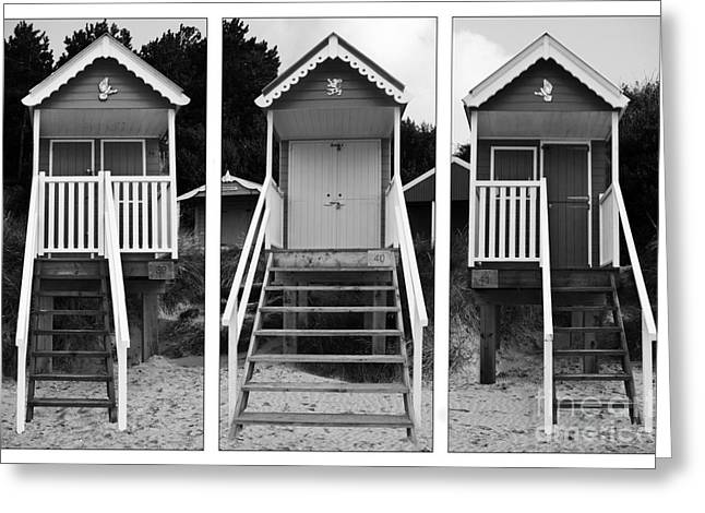 Ramshackle Greeting Cards - Beach hut triptych Greeting Card by John Edwards