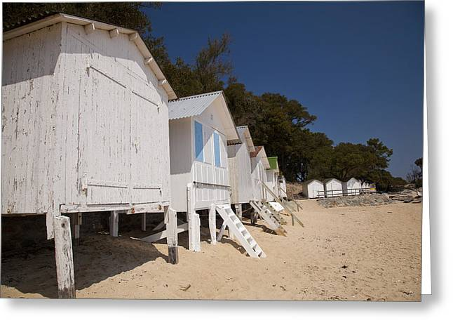 Best Sellers -  - Demoiselles Greeting Cards - Beach Huts 1 Greeting Card by Stephane Grossin
