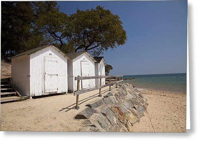 beach huts 2 Greeting Card by Stephane Grossin