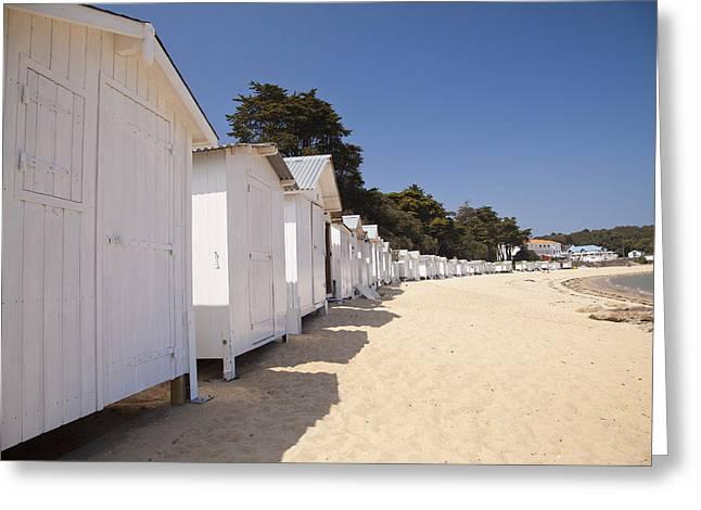 Best Sellers -  - Demoiselles Greeting Cards - Beach Huts 3 Greeting Card by Stephane Grossin