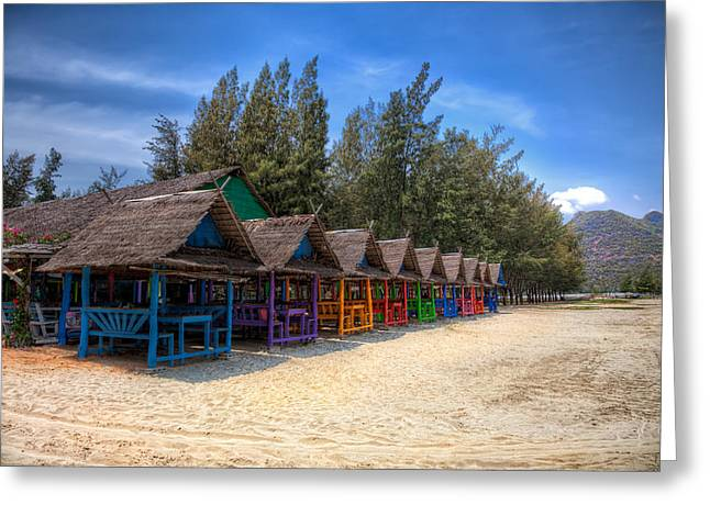 Seated Digital Art Greeting Cards - Beach Huts Greeting Card by Adrian Evans
