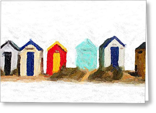 Paint Photograph Greeting Cards - Beach Huts Greeting Card by Martin  Fry