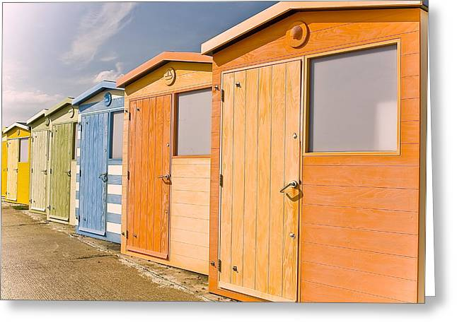 Beach Huts Greeting Card by Phil Clements