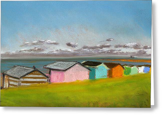 Sand Pastels Greeting Cards - Beach Huts Summer Greeting Card by Paul Mitchell