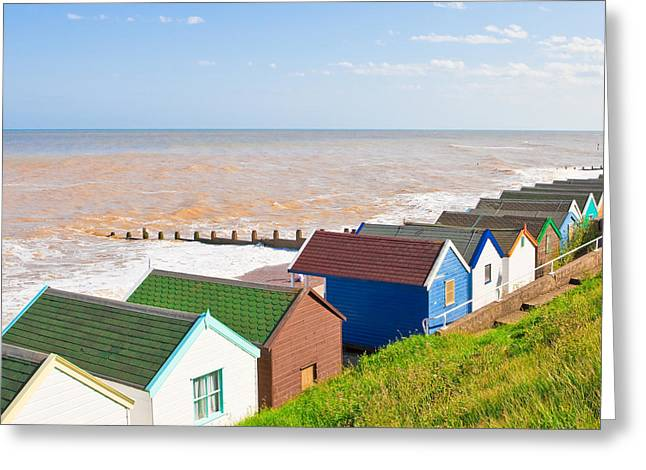 Pensioners Greeting Cards - Beach huts Greeting Card by Tom Gowanlock