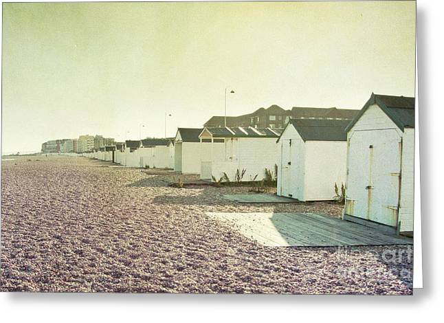Sepia White Nature Landscapes Greeting Cards - Beach Huts Greeting Card by Violet Gray