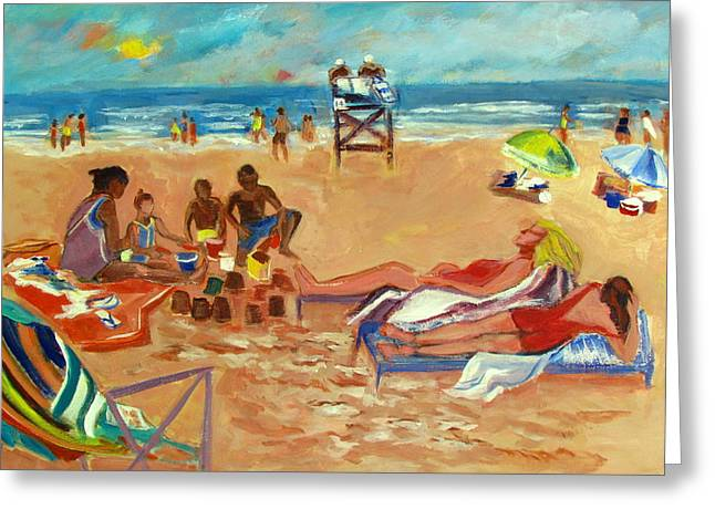 Beach Towel Greeting Cards - Beach in August Greeting Card by Betty Pieper