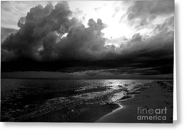Ft. Meyers Beach Greeting Cards - Beach in Black and White Greeting Card by Jeff Breiman