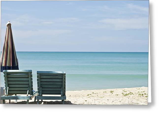 Chaise-lounge Photographs Greeting Cards - Beach Life Greeting Card by Nomad Art And  Design