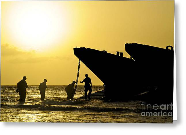 Paix Greeting Cards - Beach Masters Assist Sailors Greeting Card by Stocktrek Images