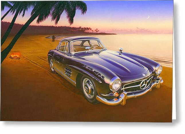 Driving Greeting Cards - Beach Mercedes Greeting Card by Andrew Farley