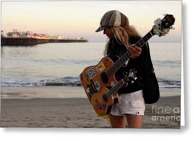 Santa Cruz Pier Greeting Cards - Beach Musician Greeting Card by Bob Christopher