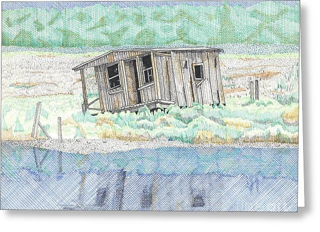 Wooden Building Drawings Greeting Cards - Beach Old Wooden Building Greeting Card by Calvert Koerber