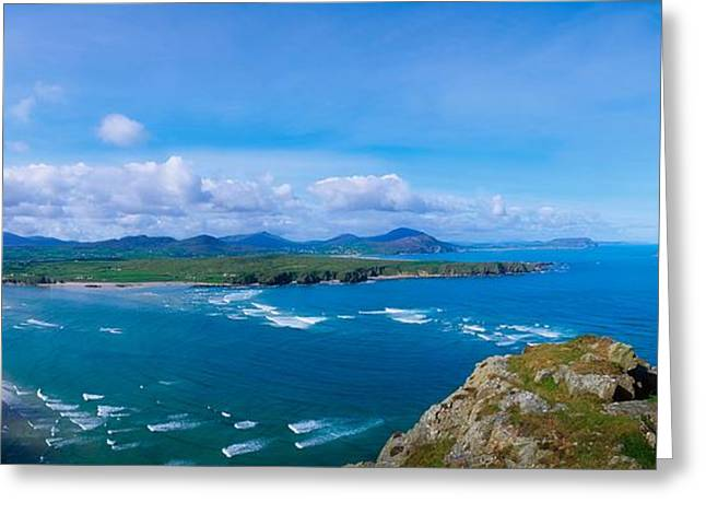 Ocean Panorama Greeting Cards - Beach On Inishowen Peninsula, Co Greeting Card by The Irish Image Collection