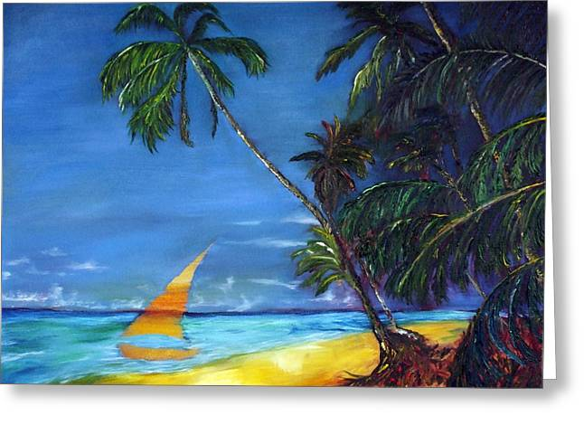 Gregory Allen Page Greeting Cards - Beach Palm Sailboat Greeting Card by Gregory Allen Page