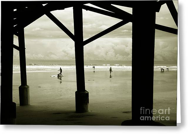 Abstract Beach Landscape Greeting Cards - Beach People Greeting Card by Susanne Van Hulst