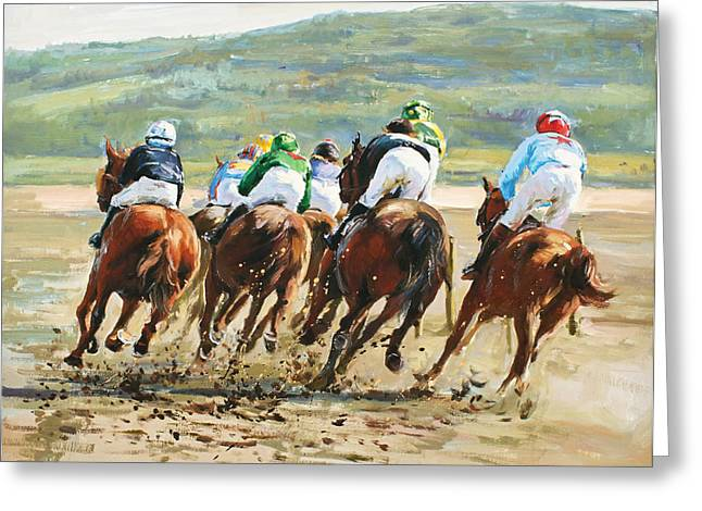 Race Horse Greeting Cards - Beach Races Greeting Card by Conor McGuire