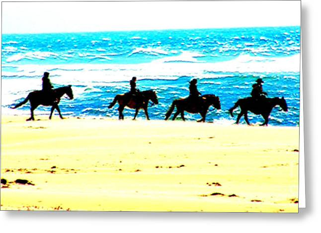 Horse And Riders Greeting Cards - Beach Riders Greeting Card by Nick Gustafson