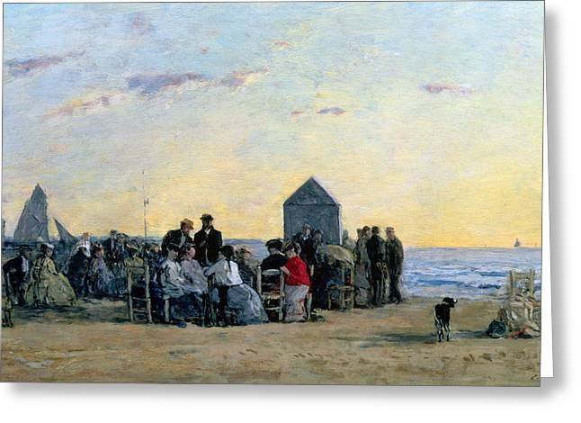 Boudin; Eugene Louis (1824-98) Greeting Cards - Beach Scene at Trouville - Sunset Greeting Card by Eugene Louis Boudin