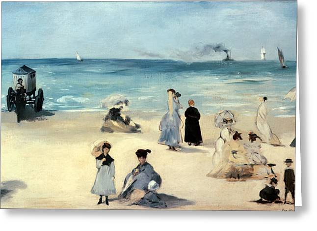 Umbrella Greeting Cards - Beach Scene Greeting Card by Edouard Manet