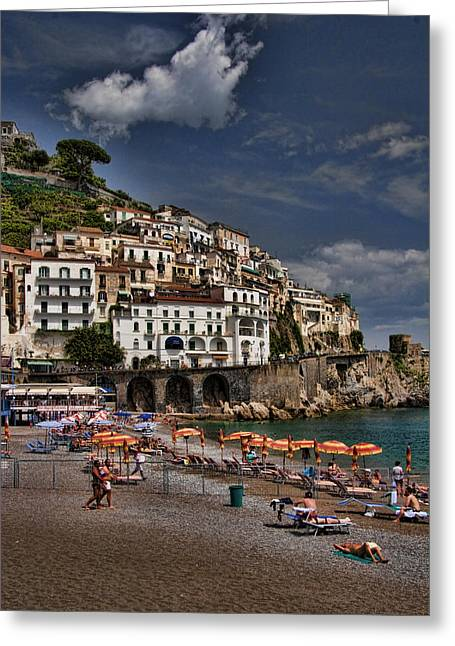 Italian Mediterranean Art Greeting Cards - Beach scene in Amalfi on the Amalfi Coast in Italy Greeting Card by David Smith