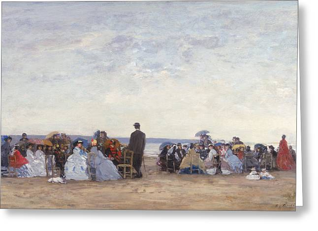 Boudin; Eugene Louis (1824-98) Greeting Cards - Beach Scene near Trouville Greeting Card by Eugene Louis Boudin