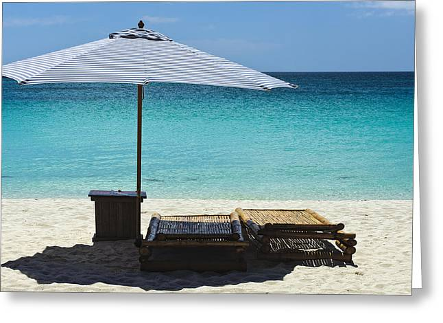 Lounger Greeting Cards - Beach Scene with Lounger and umbrella Greeting Card by Paul W Sharpe Aka Wizard of Wonders