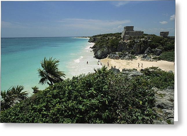 Antiquities And Artifacts Greeting Cards - Beach Scene With Mayan Ruins Greeting Card by Steve Winter
