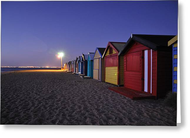 Shed Pyrography Greeting Cards - Beach Sheds at Dusk Greeting Card by Nishan De Silva