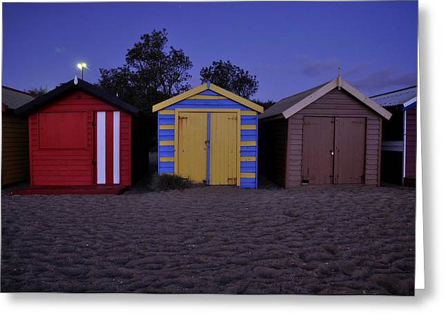 Beach Sheds Greeting Card by Nishan De Silva