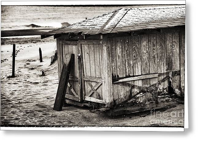 Snow. Ocean Greeting Cards - Beach Shelter Greeting Card by John Rizzuto