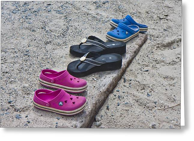 Topsail Island Greeting Cards - Beach Shoes Greeting Card by Betsy A  Cutler