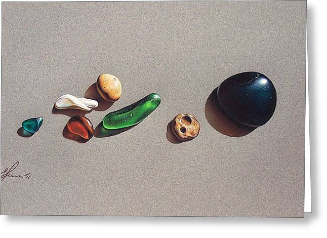 Beach Stones Greeting Card by Elena Kolotusha