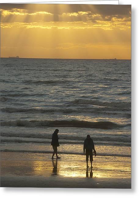 Galveston Greeting Cards - Beach Sunrise Greeting Card by Robert Anschutz