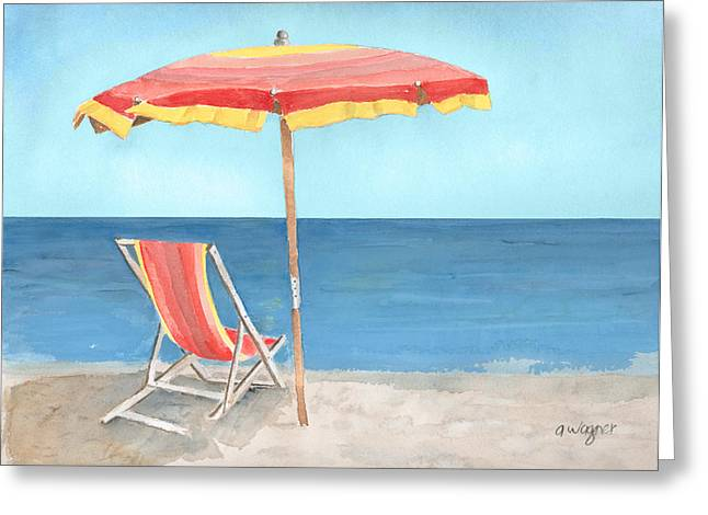 Umbrellas Greeting Cards - Beach Umbrella Of Stripes Greeting Card by Arline Wagner