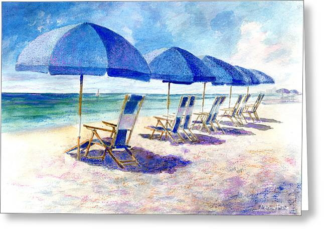 Umbrella Greeting Cards - Beach umbrellas Greeting Card by Andrew King