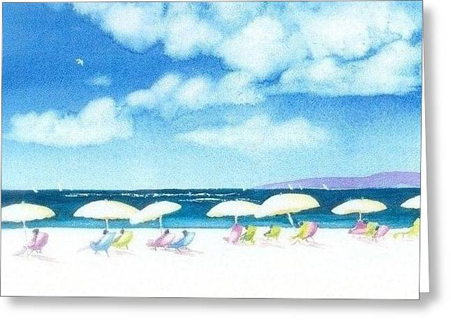 Beach Greeting Cards - Beach Umbrellas Greeting Card by Joseph Gallant