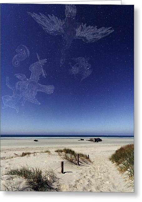 Beach Under A Full Moon Greeting Card by Laurent Laveder